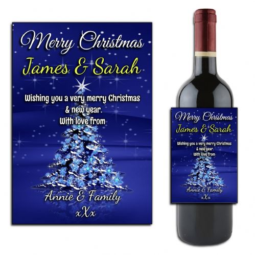 Personalised Christmas Wine or Champagne Bottle Label N172